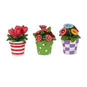Set/3 Potted Flowers for Merriment Miniature Fairy Gardening