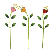 Set/3 Bloom Heart Picks for Merriment Miniature Fairy Gardening