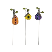 Set of 3 Colorful Hanging Birdhouses for Miniature Fairy Gardens