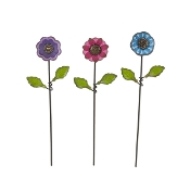 Set 3/ Button Flower Picks for Miniature Fairy Gardens