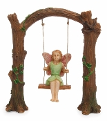 Maia on Wooden Arch Swing For Miniature Fairy Gardens