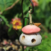 Mushroom Birdfeeder for Miniature Fairy Gardens