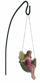 Fairy on Leaf Swing With Hook for Miniature Fairy Gardens