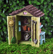 Fairy Shed With Opening Doors for Miniature Fairy Gardens