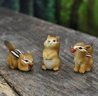 Set/3 Chipmunks For Miniature Fairy Gardens