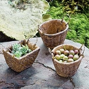 Set/3 Wicker Metal Baskets For Miniature Fairy Gardens