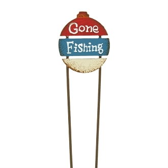 Sale - GONE FISHING Fairy Sign for Miniature Gypsy Fairy Gardens