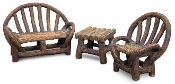 Appalacian Log Furniture Set for Miniature Fairy Gardens