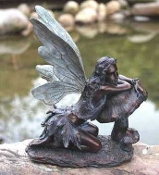 "Bronze Fairy on Mushroom (16.5"") Accent For Fairy Garden"