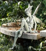 "Sitting Fairy Statement Piece for Fairy Gardens - 24"" Tall"