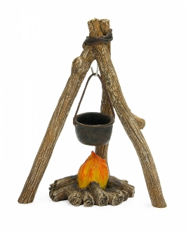 Campfire Tripod with Firepit for Miniature Fairy Gardens