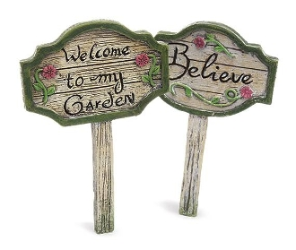 Set/2 Garden Signs for Miniature Fairy Gardens