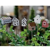 Set/6 Vintage Fairy Birdhouses For Fairy Gardens
