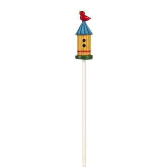 Blue Roof Birdhouse with Bird for Merriment Mini Fairy Gardening