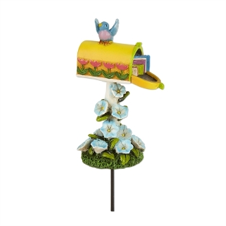 Yellow Mailbox with Bird for Merriment Mini Fairy Gardening