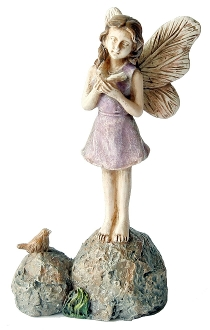 Fairy on Rock with Bird Friends For Miniature Fairy Gardens