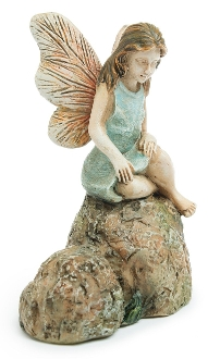 Fairy Resting Wings on Rock For Miniature Fairy Gardens