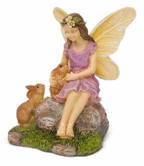 Summers Friends - Fairy and Rabbits For Miniature Fairy Gardens