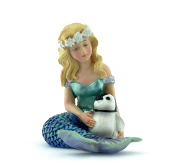 Mermaid with Penguin For Miniature Fairy Gardens