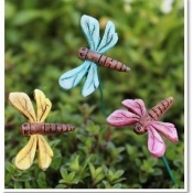 Set/3 Dragonflies on Pick For Miniature Fairy Gardens