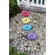 Set/4 Gerbera Daisy Stepping Stones For Miniature Fairy Gardens
