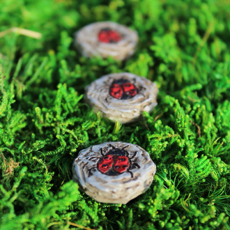 Set/3 Ladybug Stepping Stones For Miniature Fairy Gardens