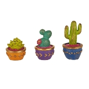 Set/3 Potted Cacti For Gypsy Fairy Gardens