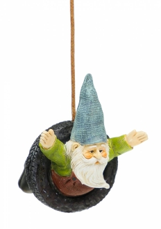 Gnome in Tire Swing on Jute Rope For Miniature Fairy Gardens