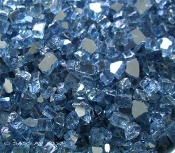 Reflective Blue Glass Chips / Miniature Fairy Garden - 12oz