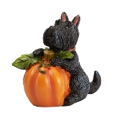 Scottie Dog with Pumpkin for Merriment Mini Fairy Gardening