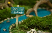 NO FISHING Sign For Miniature Gardens