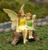 Fairy Sisters on Bench For Miniature Gardens