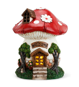 "7.5"" Red Cap Solar Lighted Mushroom Fairy House"
