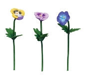 Set/3 Pansy Picks for Merriment Mini Fairy Gardening