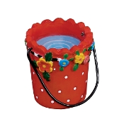 Red Flower Pail With Water for Merriment Mini Fairy Gardening