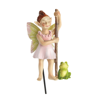 Froggie n' Flossy Swamp Fairy for Miniature Fairy Gardens