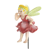 Bell Pink Rose Fairy on Stake for Miniature Fairy Gardens
