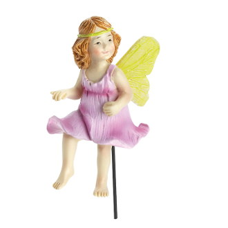 Nixie Pink Rose Fairy on Stake for Miniature Fairy Gardens