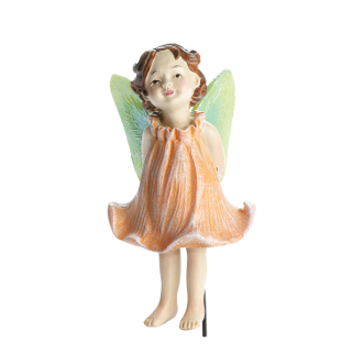 Lina Peach Rose Fairy on Stake for Miniature Fairy Gardens