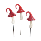 Set/3 Red Curled Mushroom Picks for Miniature Fairy Gardens