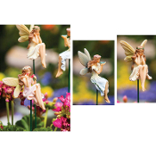 Set/3 Elegant Fairies on Stake for Miniature Gardens - EXCLUSIVE