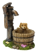 Puppy and Pump Well For Miniature Fairy Gardens