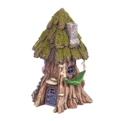 Lighted Fairy House with Hammock for Miniature Gardens