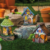 Set/3 Light Up Flower Ave Fairy Houses for Miniature Gardens