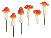 Set/6 Assorted Cap Mushroom Stake Accents for Miniature Gardens