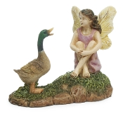 Fairy with Mallard For Miniature Fairy Gardens
