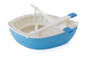 Blue Rowboat with Oars for Miniature Fairy Gardening
