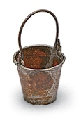 Rusted Metal Bucket Accessory for Miniature Fairy Gardening