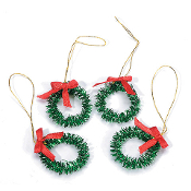 Set/4 Glitter Christmas Wreaths For Miniature Fairy Gardens