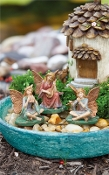 Set/3 Musician Fairies on Pad For Miniature Gardens - EXCLUSIVE